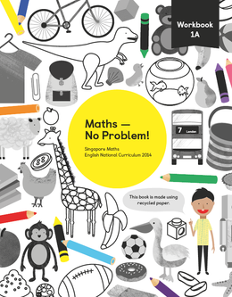 Maths mastery Workbook 1A showing characters and illustrations and text reading Singapore Maths English National Curriculum 2014