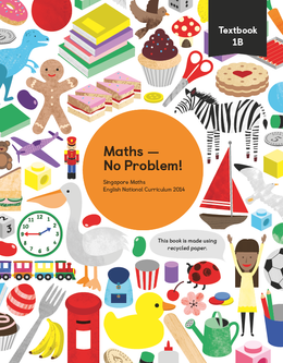 Maths mastery Textbook 1B showing characters and illustrations and text reading Singapore Maths English National Curriculum 2014