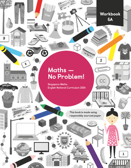 Maths mastery Workbook 5A showing characters and illustrations and text reading Singapore Maths English National Curriculum 2014